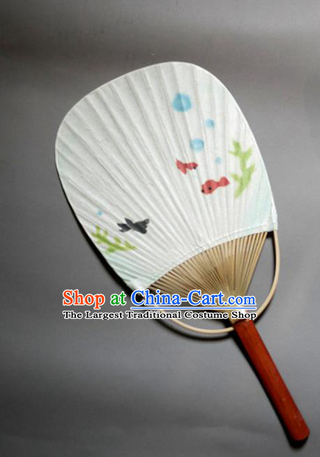 Traditional Chinese Handmade White Paper Palace Fans Bamboo Fans