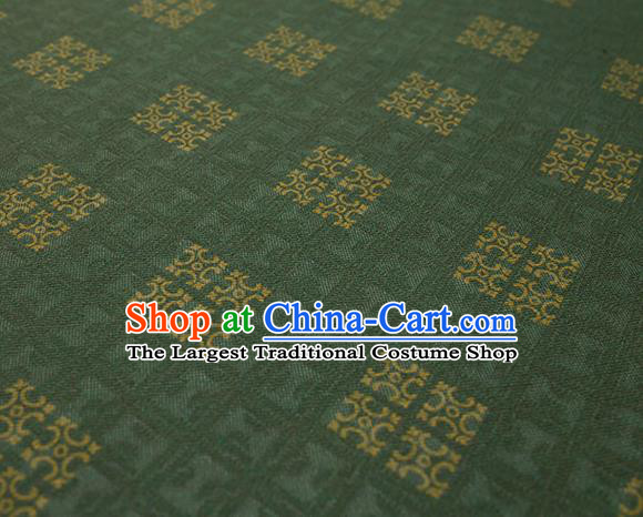 Traditional Chinese Classical Square Pattern Green Silk Fabric Ancient Hanfu Dress Silk Cloth