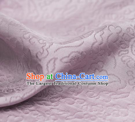 Traditional Chinese Classical Auspicious Pattern Design Light Purple Silk Fabric Ancient Hanfu Dress Silk Cloth