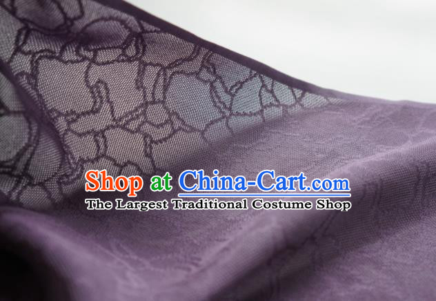 Traditional Chinese Classical Riverstones Pattern Design Deep Purple Silk Fabric Ancient Hanfu Dress Silk Cloth