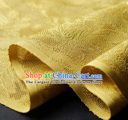 Traditional Chinese Classical Cirrus Flowers Pattern Design Yellow Silk Fabric Ancient Hanfu Dress Silk Cloth