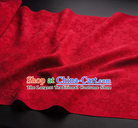Traditional Chinese Classical Iris Flowers Pattern Design Wine Red Silk Fabric Ancient Hanfu Dress Silk Cloth
