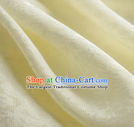 Traditional Chinese Classical Apricot Flowers Pattern Design Light Yellow Silk Fabric Ancient Hanfu Dress Silk Cloth