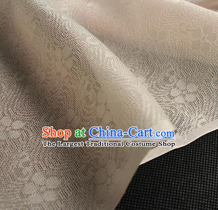 Traditional Chinese Beige Silk Fabric Classical Plum Blossom Pattern Silk Cloth