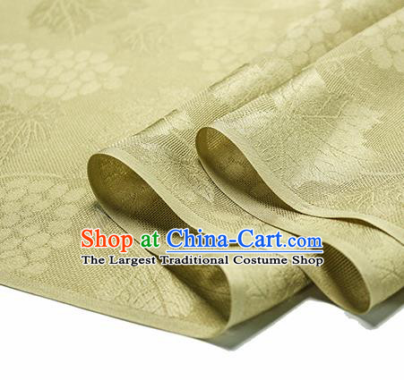 Traditional Chinese Classical Grape Pattern Yellow Silk Fabric Ancient Hanfu Silk Cloth