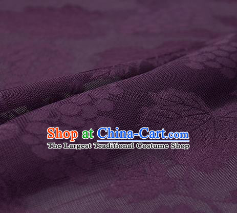 Traditional Chinese Classical Grape Pattern Purple Silk Fabric Ancient Hanfu Silk Cloth