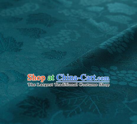 Traditional Chinese Classical Grape Pattern Deep Green Silk Fabric Ancient Hanfu Silk Cloth