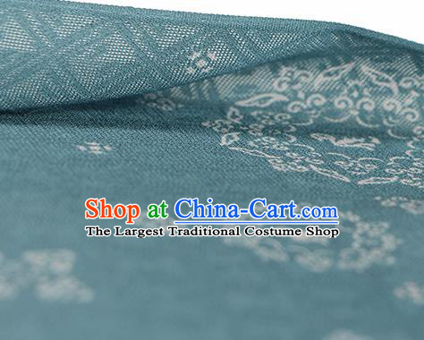 Traditional Chinese Classical Rosette Pattern Peacock Green Silk Fabric Ancient Hanfu Silk Cloth