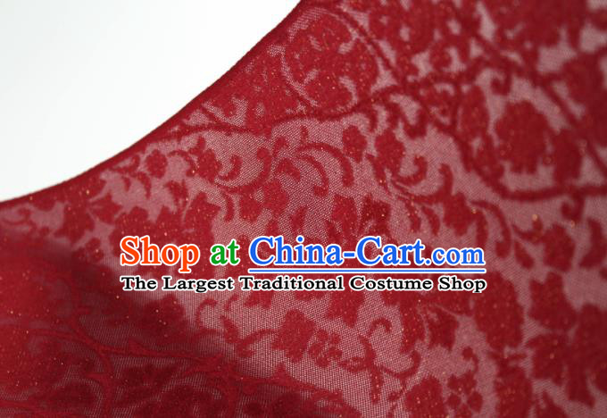 Traditional Chinese Classical Twine Flowers Pattern Red Silk Fabric Ancient Hanfu Dress Silk Cloth