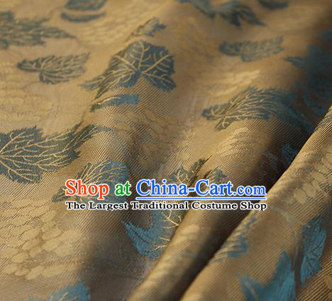Traditional Chinese Classical Twine Grape Pattern Brown Silk Fabric Ancient Hanfu Dress Silk Cloth