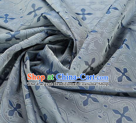 Traditional Chinese Classical Pattern Blue Silk Fabric Ancient Hanfu Dress Silk Cloth