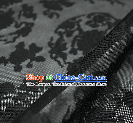 Traditional Chinese Classical Peony Pattern Black Silk Fabric Ancient Hanfu Dress Silk Cloth
