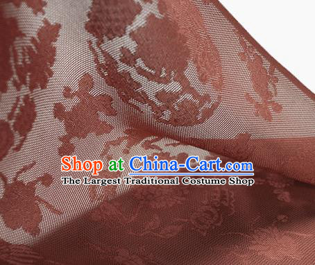 Traditional Chinese Classical Peony Pattern Rust Red Silk Fabric Ancient Hanfu Dress Silk Cloth