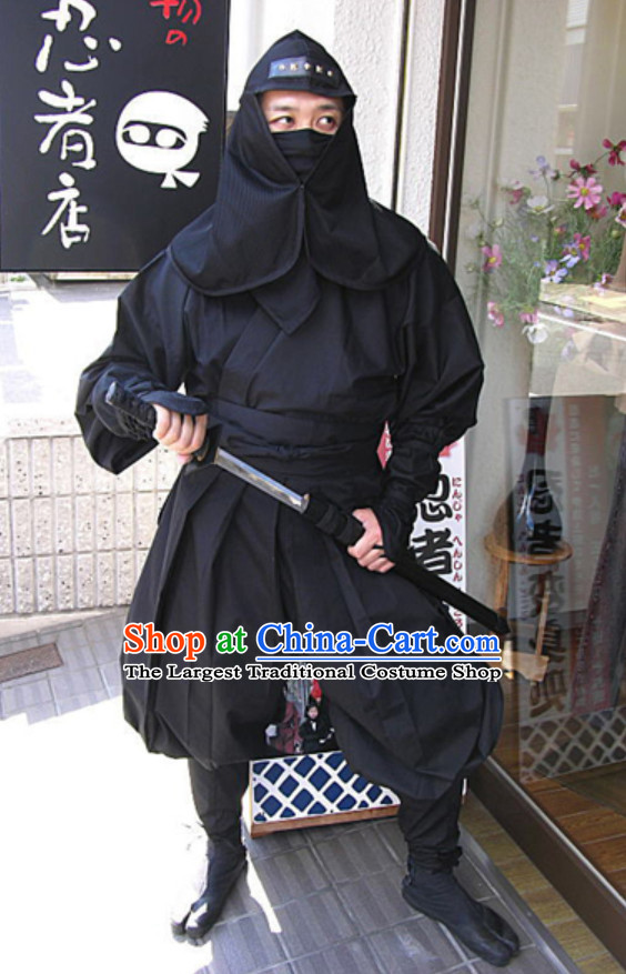 Ancient Asian Japanese Ninja Costume Fighter Costumes Complete Set for Men or Women