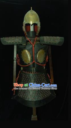 Chinese Ancient Drama Soldier Armor and Helmet Traditional Southern and Northern Dynasties General Costumes Complete Set for Men