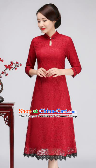 Chinese Traditional Classical Red Lace Cheongsam National Tang Suit Qipao Dress for Women