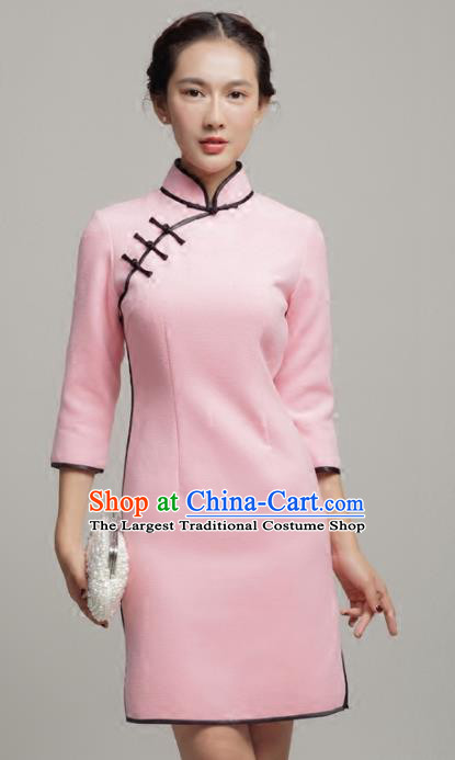 Chinese Traditional Classical Pink Short Cheongsam National Tang Suit Qipao Dress for Women