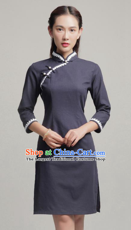 Chinese Traditional Classical Navy Short Cheongsam National Tang Suit Qipao Dress for Women