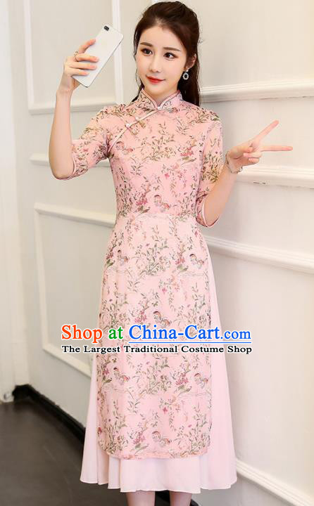 Traditional Chinese Classical Dance Pink Cheongsam National Costume Tang Suit Qipao Dress for Women