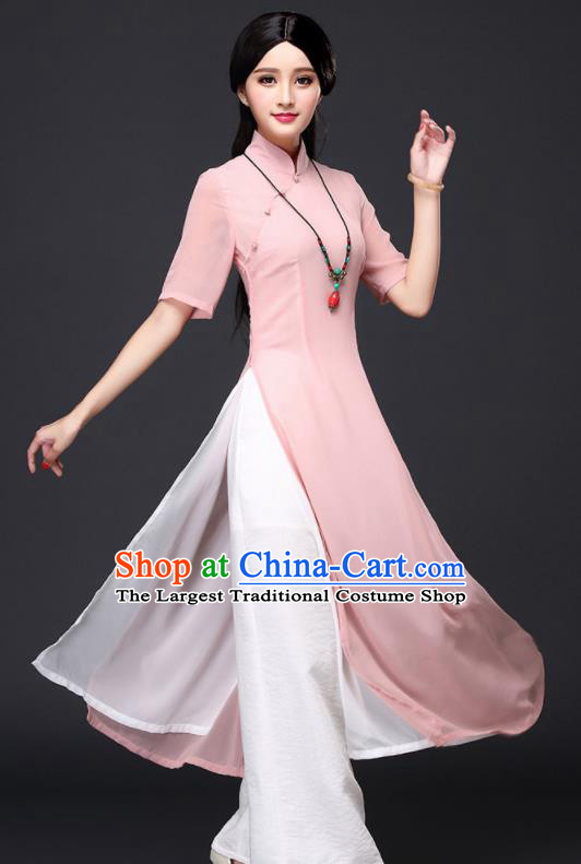 Traditional Chinese Classical Pink Veil Cheongsam National Costume Tang Suit Qipao Dress for Women