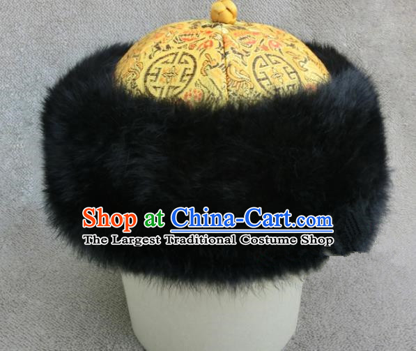 Chinese Ancient Drama Emperor Winter Hat Traditional Qing Dynasty Royal Highness Headwear for Men