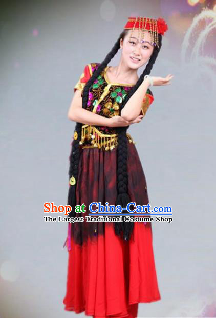 Traditional Chinese Uyghur Nationality Dance Costume Ethnic Stage Show Dress for Women