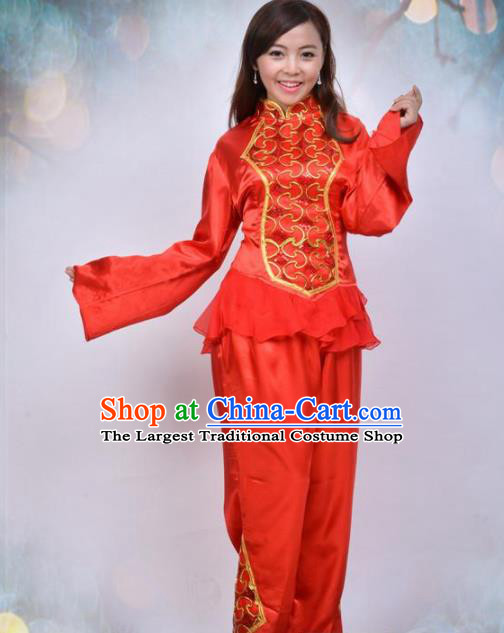 Traditional Chinese Folk Dance Red Costume Fan Dance Stage Show Dress for Women