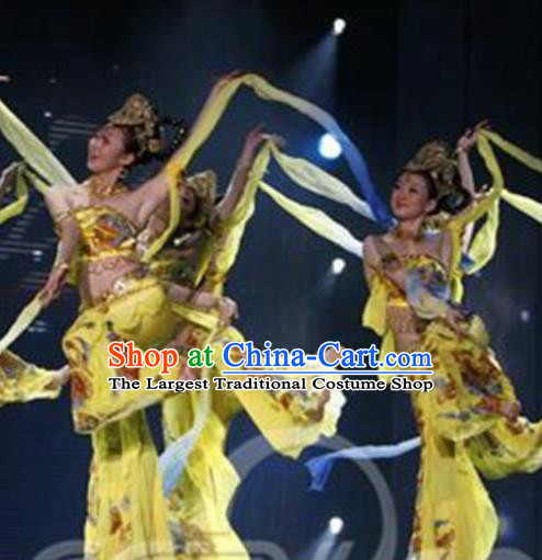 Traditional Chinese Classical Dance Yellow Costume Dunhuang Flying Apsaras Dance Stage Show Dress for Women