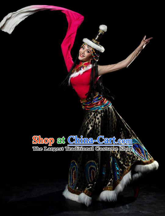 Traditional Chinese Zang Nationality Tangola Dance Dress Tibetan Ethnic Dance Stage Show Costume for Women