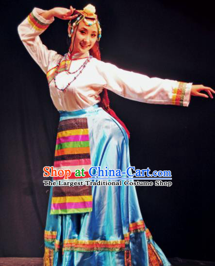 Traditional Chinese Zang Nationality Dance Blue Dress Tibetan Ethnic Dance Stage Show Costume for Women
