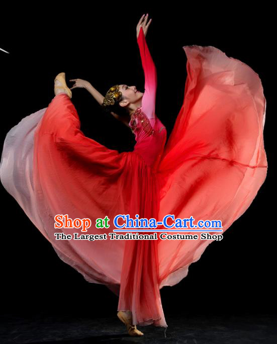 Traditional Chinese Classical Dance Red Costumes Umbrella Dance Stage Show Dress for Women