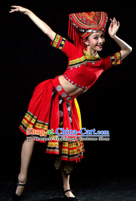 Traditional Chinese Yao Nationality Dance Red Dress Ethnic Dance Stage Show Costume for Women