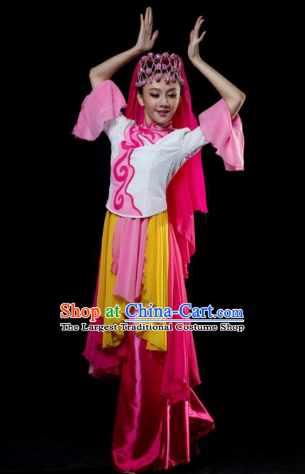 Traditional Chinese Hui Nationality Dance Rosy Dress Ethnic Dance Stage Show Costume for Women