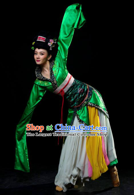 Traditional Chinese Classical Dance Ta Ge Green Costumes Umbrella Dance Stage Show Dress for Women