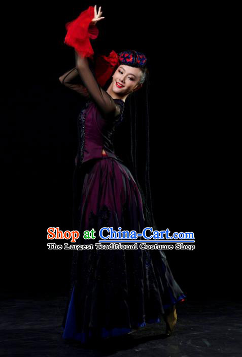 Traditional Chinese Uyghur Nationality Dance Black Dress Uigurian Ethnic Dance Stage Show Costume for Women