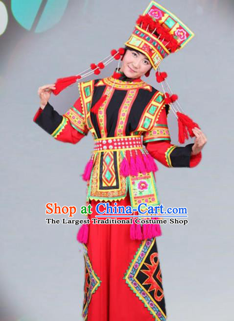 Traditional Chinese Yi Nationality Dance Red Costume Ethnic Wedding Stage Show Dress for Women