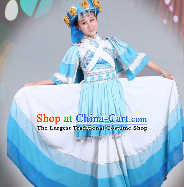Traditional Chinese Naxi Nationality Dance White Costume Ethnic Stage Show Dress for Women