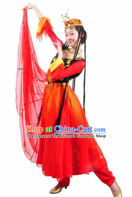 Traditional Chinese Uyghur Nationality Costume Uigurian Ethnic Dance Stage Show Red Dress for Women