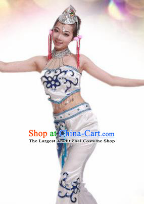 Traditional Chinese Yi Nationality Dance White Costume Ethnic Stage Show Dress for Women