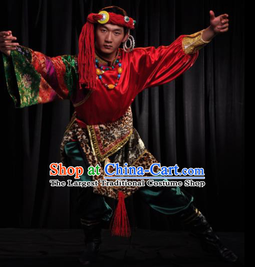 Chinese Traditional Zang Nationality Dance Red Costume Tibetan Ethnic Folk Dance Stage Show Clothing for Men