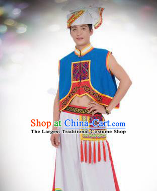 Traditional Chinese Yi Nationality Dance Blue Costume Ethnic Stage Show Clothing for Men