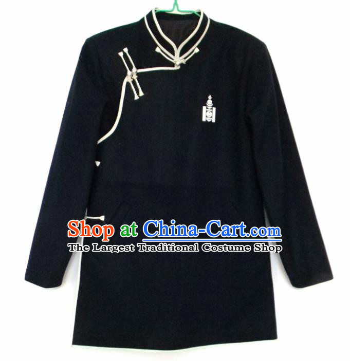 Chinese Traditional Mongol Nationality Costume Mongolian Ethnic Black Jacket for Men