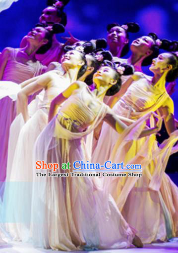 Traditional Chinese Classical Dance Huan Sha Costumes Umbrella Dance Stage Show Dress for Women