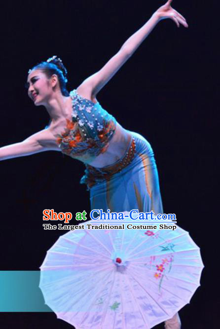 Traditional Chinese Dai Nationality Dance Blue Dress Ethnic Umbrella Dance Stage Show Costume for Women