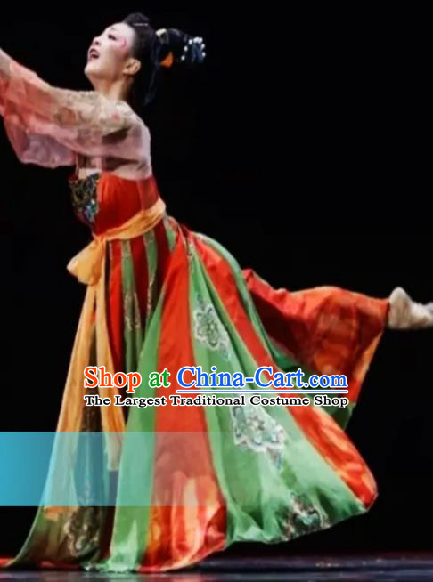 Traditional Chinese Classical Dance Costumes Umbrella Dance Stage Show Dress for Women