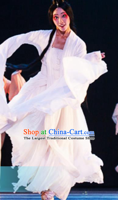 Traditional Chinese Classical Dance Yan Hua Yi Leng Costumes Umbrella Dance Stage Show White Dress for Women