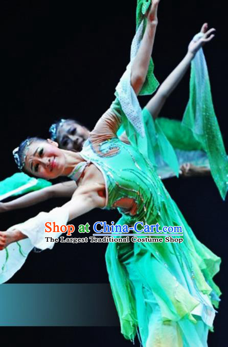 Traditional Chinese Classical Dance Fan Dance Costumes Umbrella Dance Stage Show Green Dress for Women
