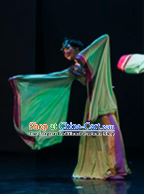 Traditional Chinese Classical Dance Yun Chang Costumes Umbrella Dance Stage Show Green Dress for Women