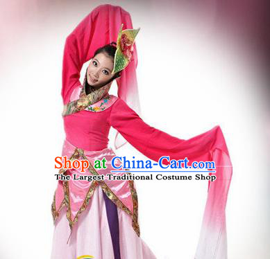 Traditional Chinese Classical Dance Rosy Costume Water Sleeve Dance Stage Show Dress for Women