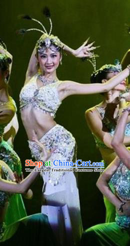 Traditional Chinese Dai Nationality Dance White Dress Ethnic Peacock Dance Stage Show Costume for Women